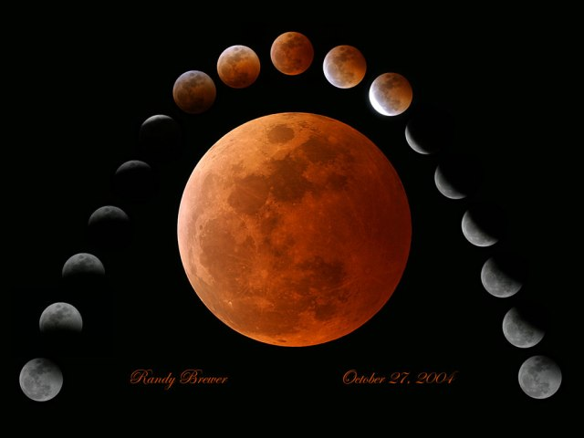 Gambar 1 Rantai tahapan gerhana Bulan Total mulai dari kontak awal hingga kontak akhir penggerhanaan. Kredit: bintanggumilang